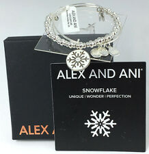 NWT Alex and Ani SNOWFLAKE HOLIDAY SET 2015 in Shiny SILVER ~ TWO Bracelets