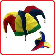 CLOWN-CIRCUS-JESTER-CARNIVAL-MARDI GRAS-FIESTA HAT WITH BELLS-PARTY COSTUME