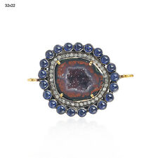 8.43ct Blue Sapphire Geode Diamond Connector Finding Sterling Silver 18kt Gold