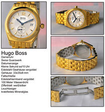 HUGO BOSS DAMEN UHR 10 BAR EDELSTAHL VERGOLDET SWISS MADE
