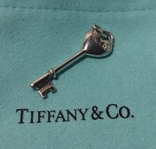 Tiffany & Co 925 Silver Diamond Heart Key Pendant with Pouch and Box Authentic!