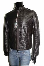 ITALIAN HANDMADE MEN LEATHER SLIM FIT BLOUSON JACKET CROCODILE DARK BROWN XL
