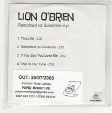 (FW675) Lion O'Brien, Raincloud vs Sunshine EP - 2009 DJ CD