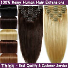 New Real Weft Full Head Remy Human Hair Extensions Clip in Black Brown Blonde