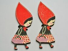 10 Big Red Riding Hood Girl Wood Painting Flatback Buttons 85X28mm No Hole