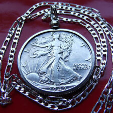 """1916-1947  Silver Walking Liberty on a 30"""" 925 Sterling Silver Figaro Chain"""
