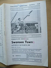1968 League Division Four- WORKINGTON v SWANSEA TOWN: SIGNED by Swansea PLAYER