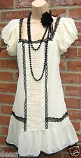 SIZE 10 VINTAGE 20'S DECO GATSBY STYLE CHARLESTON FLAPPER DRESS # US 6 EU 38
