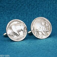 Vintage INDIAN HEAD & BUFFALO NICKEL Coin New Cufflinks - Hand Made in USA