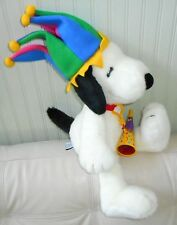 Giant/Large/Big SNOOPY MACYS Plush Stuffed JESTER HAT White Red Collar HORN 25""