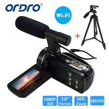 ORDRO 1080P HD Digital Video DV Camera Camcorder 24MP+Microphone+YUNTENG Tripod