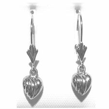 "14K Solid White Gold 3D Heart Lever back Earring. Wid: 5mm Length: 7/8"" E2216-64"
