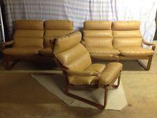 Tessa 3 Piece Leather Lounge Suite - Skid Base