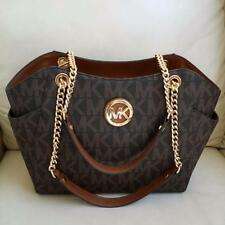 NWT Michael Kors Brown PVC Jet Set Travel Large Chain Shoulder Tote Bag