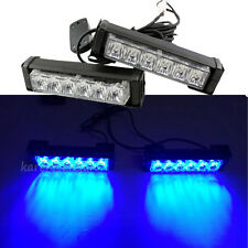 2 x6LED Blue Car Emergency Beacon Grille LED Light Bar Hazard Strobe Warning 12V