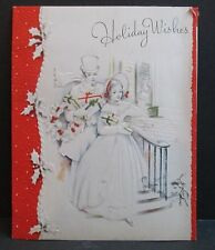 Vintage Artistic Christmas Greeting Card Victorian Couple