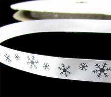 "5 Yds Christmas Winter White Silver Snowflake Satin Ribbon 5/8""W"