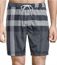 Burberry Brit Charcoal Classic Check Mens Swim Trunks Shorts M Medium BRAND NEW