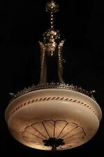 Pendant light chandelier  bronze and real alabaster made in America