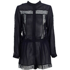 ZIMMERMANN 'wayfarer lattice playsuit' romper black sheer cotton 0 6 8 RRP $395