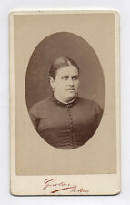 PHOTO ANCIENNE CDV Femme Coiffure Vers 1880 Gustave Le Mans Ovale Robe