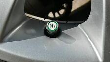 Green / N2 / Nitrogen Metal Car Tyre Valve Dust Caps x4 - Chrome Hexagonal Alloy