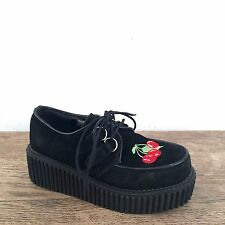 shoes DEMONIA black suede leather embroidered cherry CREEPER platform creepers 6