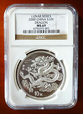 2000 China Dragon NGC MS69 Round Silver 1oz 10 Yuan Chinese Lunar Rare Non Panda