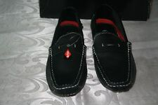 NEW MEN'S LEE COOPER BLACK LEATHER DRIVING SHOES SIZE: US - 9.5 EUR - 43