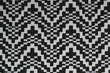 Pixelated  Zig Zag Print Denim Type Dress Fabric Material (Charcoal/Ivory)