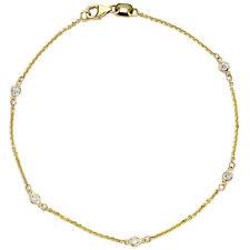 Suzy Levian 14k Yellow Gold 1/10ct TDW Diamonds by the Yard Bracelet (G-H, SI1)