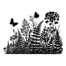 Crafty Individuals FERNS & BUTTERFLIES SILHOUETTE Unmounted Red Rubber Stamp