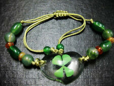 32pcs lots green four leaf clover bead heart bracelet St patty day's gift f/s