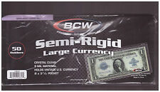 (100) LARGE BCW DELUXE CURRENCY SLEEVE BILL PAPER NOTE MONEY HOLDERS SEMI RIGID.