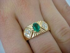 18K YELLOW GOLD COLOMBIAN EMERALD 0.50 CT AND DIAMONDS 0.25 CT T.W. LADIES RING