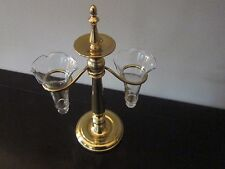 Vintage Solid Brass Epergne Stand Holds Two Ruffled Crystal Peg Vases Unique