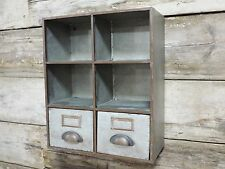 Vintage Industrial  wall store pigeon hole cabinet storage urban 2 drawers
