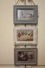 SHABBY CHIC VINTAGE LOOK HANGING TRIPLE PHOTO FRAME