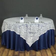 "Ivory LACE 72x72"" TABLE OVERLAY Wedding Party Catering Reception Linens SALE"