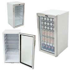 White Commercial Beverage Refrigerator Glass Door Compact Cylinder Lock -120-Can