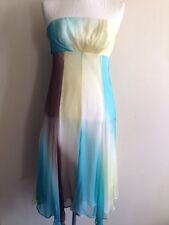 Monsoon BNWT RRP £150 100% Silk Brown, Yellow, Turquoise Occasion Dress - Size 8