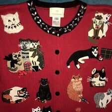 Susan Bristol Christmas Sweater Cardigan Kittens Medium M cats kitty Cat Lady