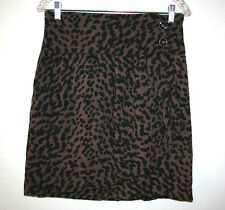 NEW Womens ANTHROPOLOGIE Silence + Noise Plum Animal Cheetah Print Wrap Skirt 10
