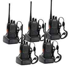 5 Pack Walkie Talkie Headset Set Way Radio 2 Long Range Security Electronic Add