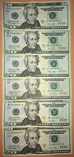 $20 DOLLAR BILLs, US Paper Money Bills, Federal Reserve Cash Bank Notes
