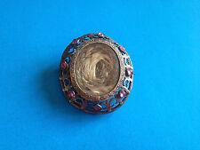 Ancien Reliquaire Broche Mourning Deuil Cheveux Métal Argenté/ Reliquary Brooch