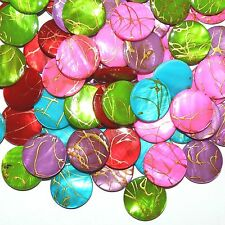 MPL770 Assorted Gold Drizzle Drawbench 20mm Round Mother of Pearl Shell Bead 50p