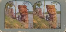 Coloured Vintage Stereoview - Chimney Rock, Wisconsin River - TW Ingersoll 1899