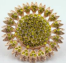 Large Face Gold Sun Flower Stunning Stretch Ring Crystal Rhinstone Fashion RF03