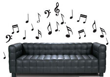 Black Music Notes Pack of 20 - Wall Vinyl Stickers Treble Clef Transfers Decals